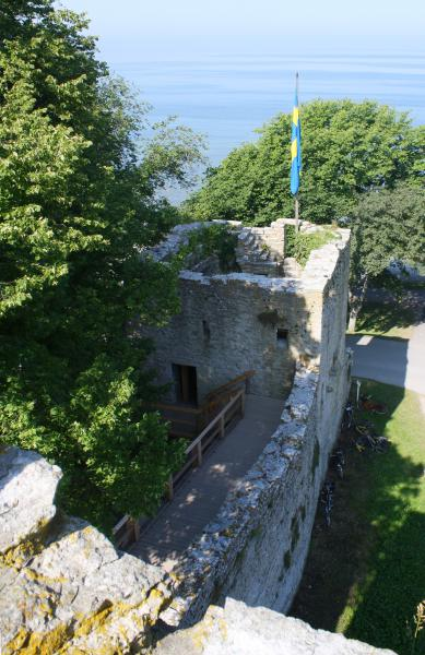 From a tower. A tower near Nordegravar in northwest corner is equipped with stairs and floors.