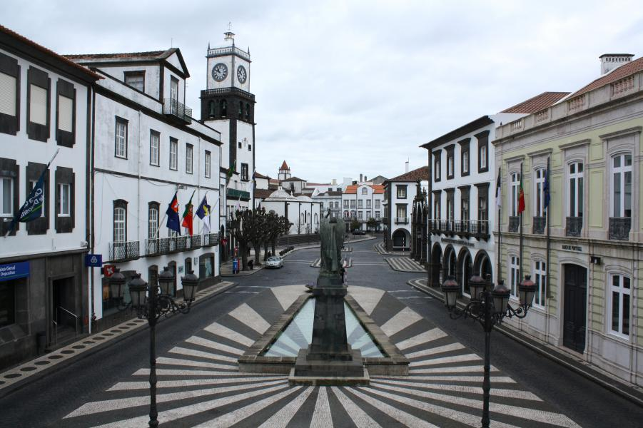 Ponta Delgada. The centre of Ponta Delgada seen from the City Hall.