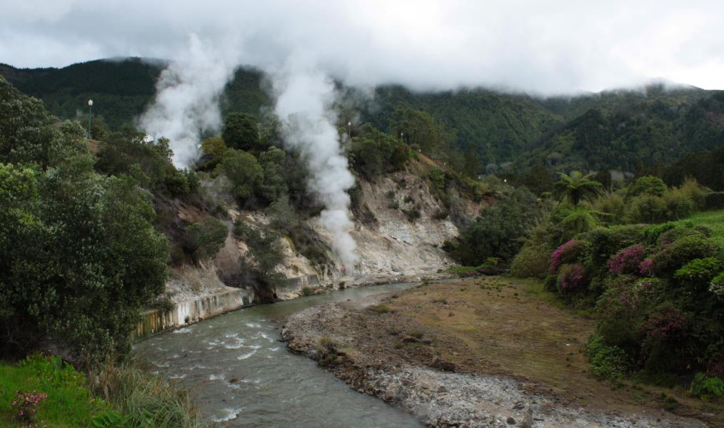 Hot Springs. The river and the hill with the hot springs in Furnas.