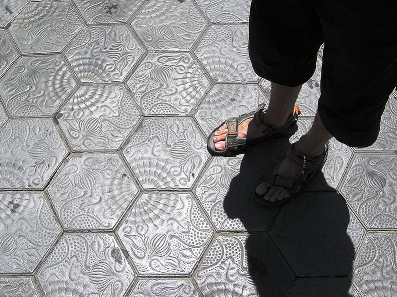 Art is all around. When you are walking around in Barcelona and look at buildings, people, shops, restaurants etc. Don not forget to look down on the pavement sometimes, they can be art as well.