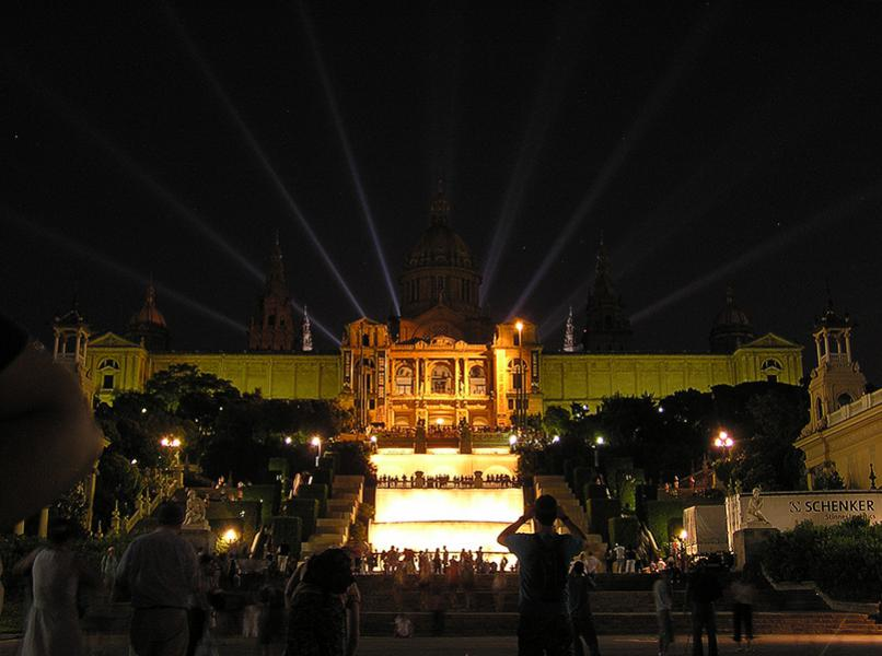 Museu Nacional d Art de Catalunya. At the time the fountain show was over, it was dark. We turned around and saw this nice light settings on the National Art Museum of Catalonia.